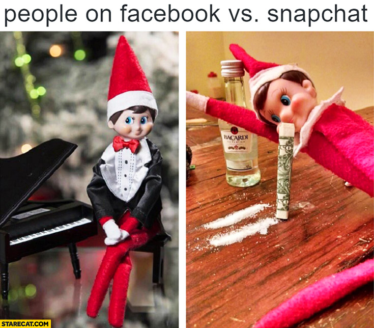 People on snapchat: snorting cocaine, people on facebook: super polite