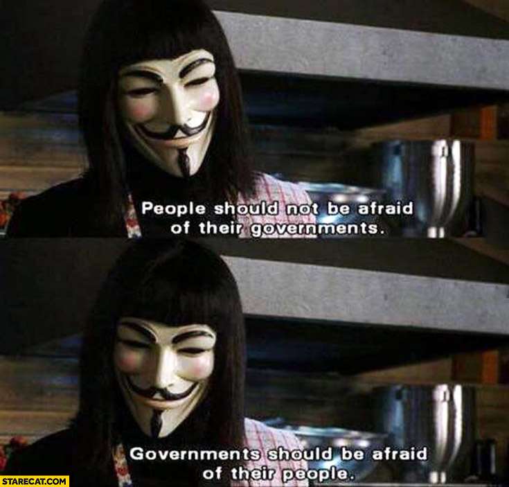 People should not be afraid of their governments should be afraid of their people anonymous mask
