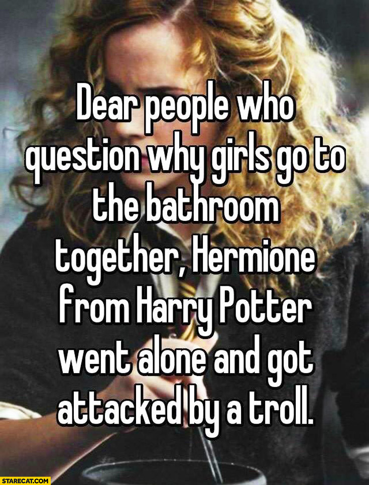 People who question why girls go to the bathroom together, Hermione from Harry Potter went alone and got attacked by a troll