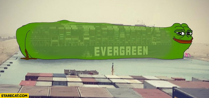 Pepe the frog evergreen ever given blocking Suez canal