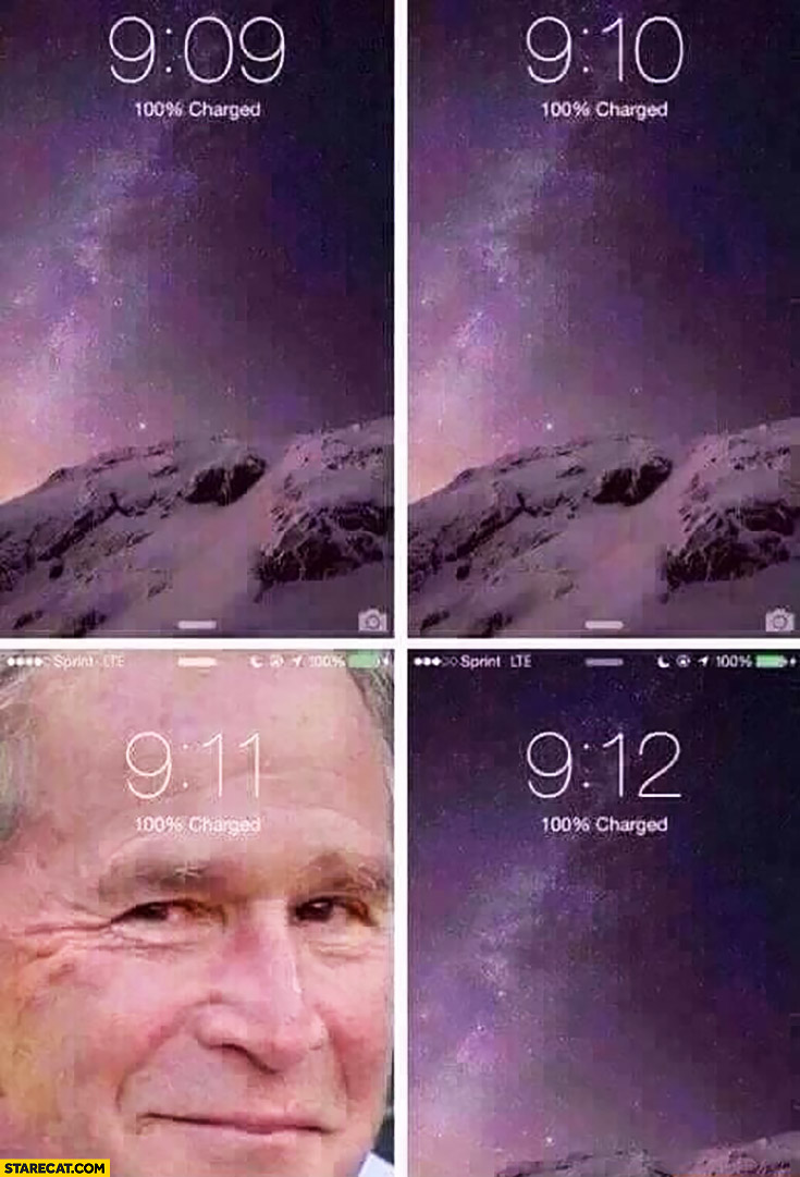 Phone screen 9/11 nine eleven George Bush appears
