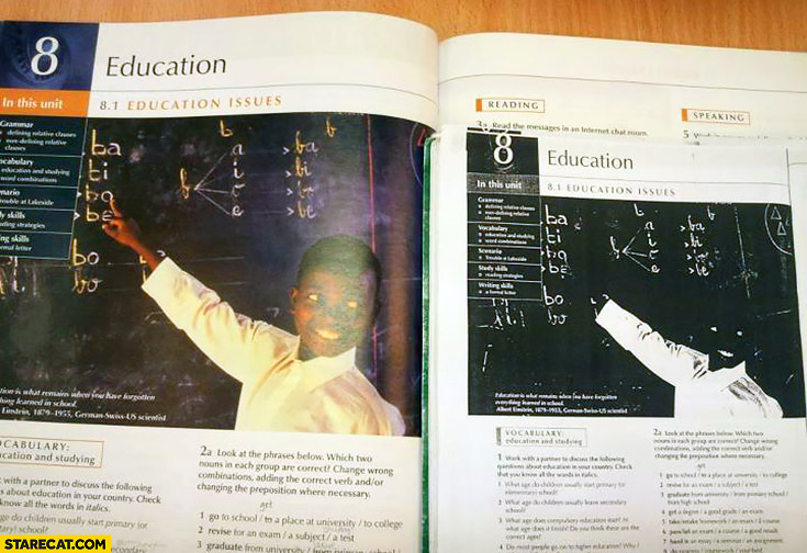Photocopied book black kid not visible silly comparison
