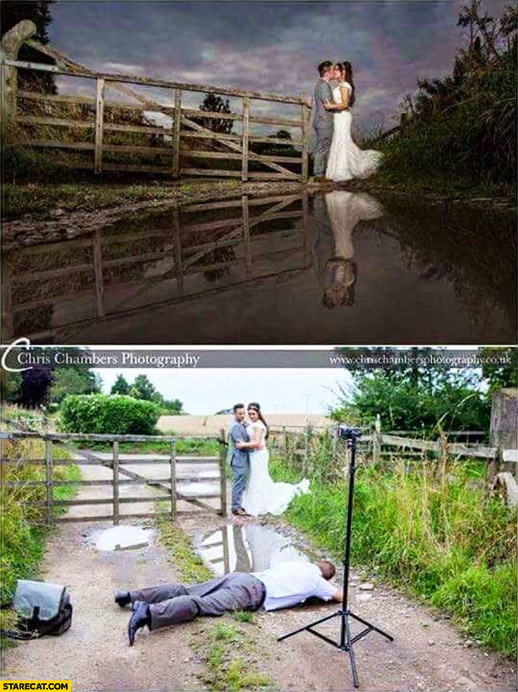 Photographer laying in the mud to take great wedding picture commitment dedication