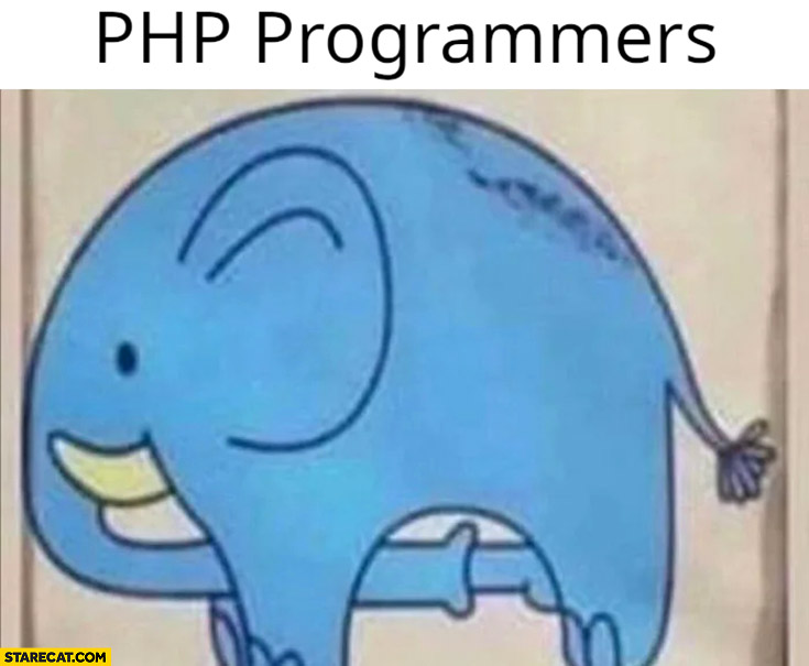 PHP programmers elephant sucking his own dick drawing