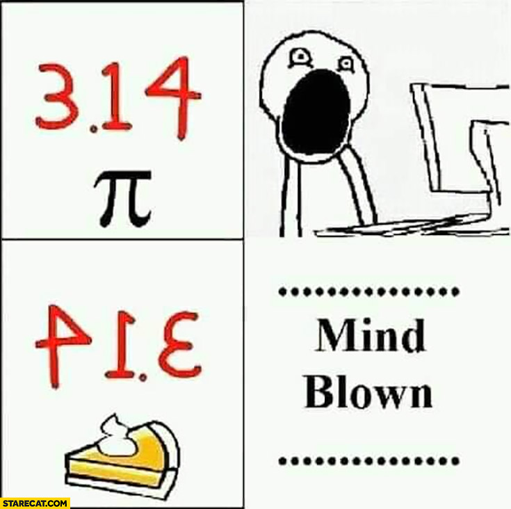 Pi number word pie when 314 is written backwards mind blown