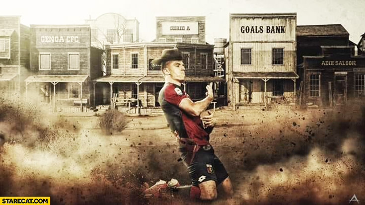 Piatek serie a footbaler wild west photoshopped