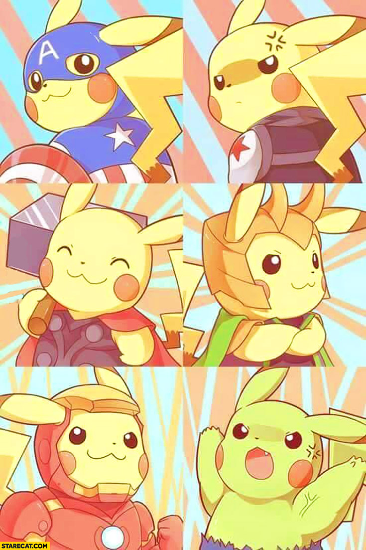 Pikachu as Captain America Thor Ironman