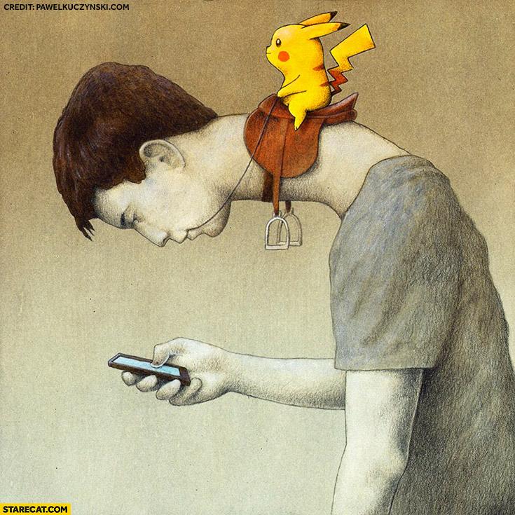 Pikachu riding on a human playing Pokemon GO creative illustration