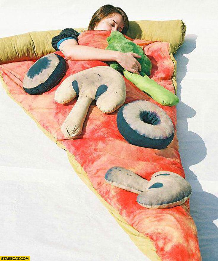 Pizza slice creative bed