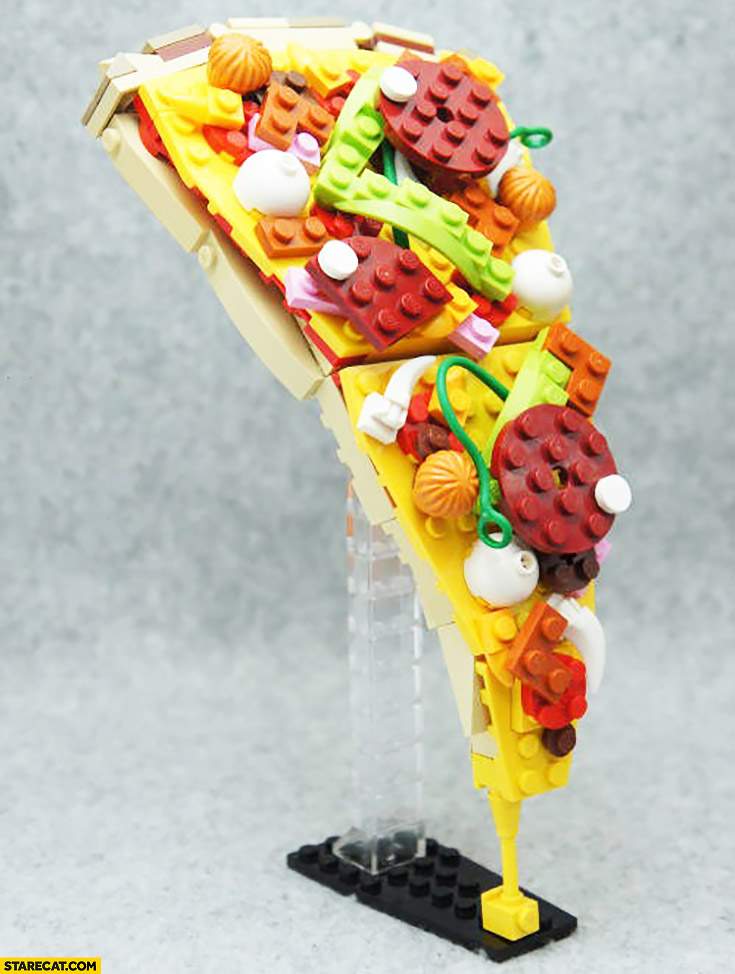 Pizza slice made out of LEGO bricks