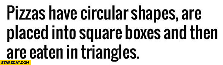 Pizzas have circular shapes are placed into square boxes and then are eaten in triangles