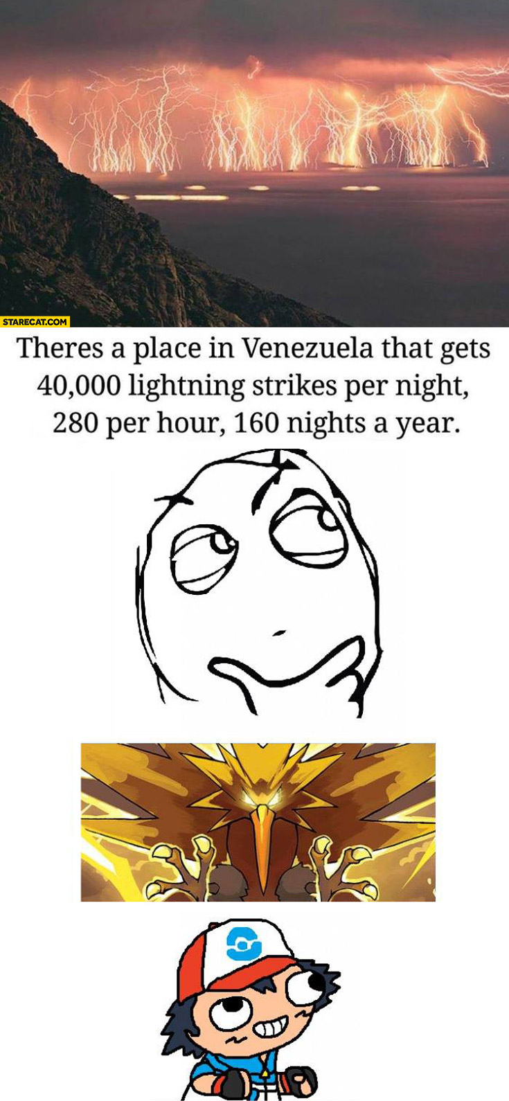 Place in Venezuela that gets 40000 lightning strikes per year Pokemon