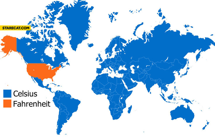 Places where Celsius Fahrenheit is used