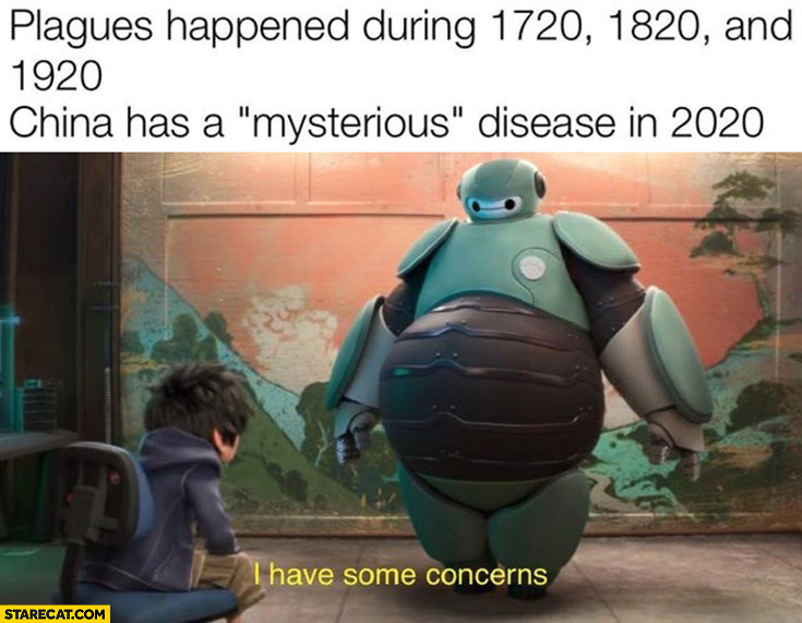 Plagues happened during 1720, 1820 and 1920 China has mysterious disease in 2020 I have some concerns