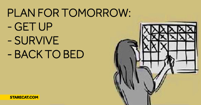 Plan for tomorrow get up, survive, back to bed