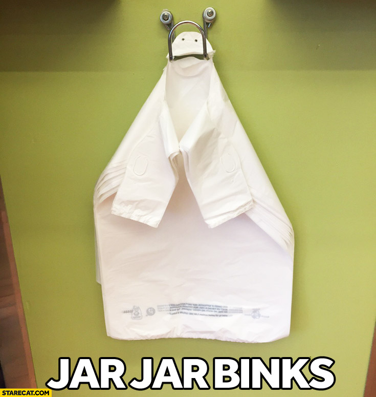 Plastic bags looking like Jar Jar Binks Star Wars