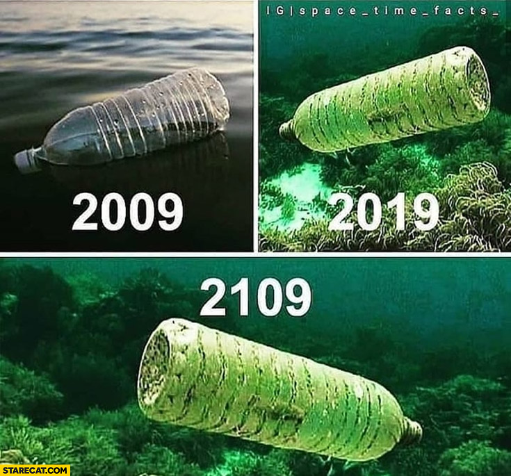 Plastic bottle after many years they never dissolve year 2009, 2019, 2109 the same