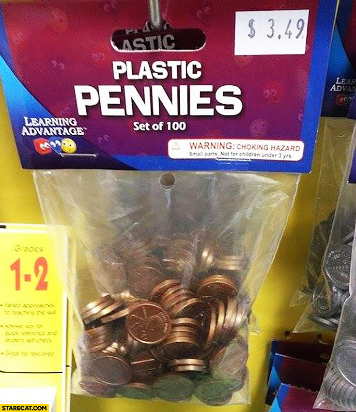 Plastic pennies set of 100 for 3 dollars 49 cents