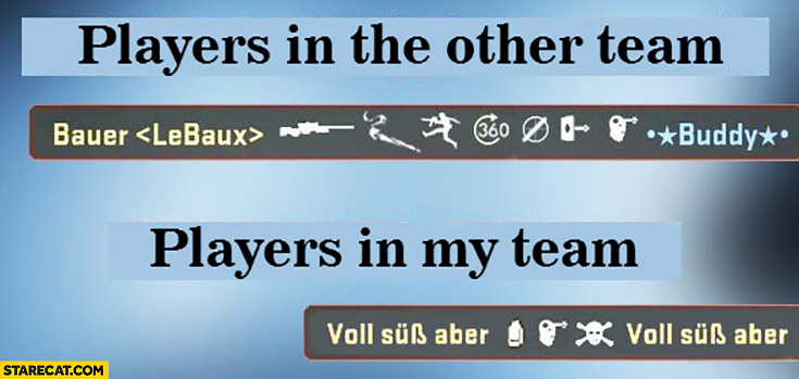 Players in other team: headshot, players in my team: friendly fire comparison fail