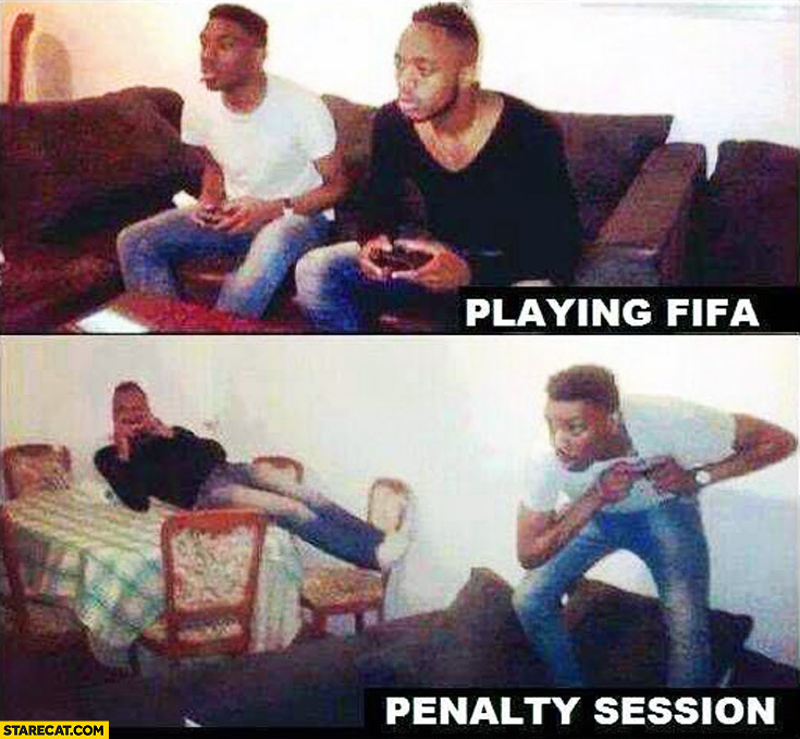 Playing FIFA penalty session two guys