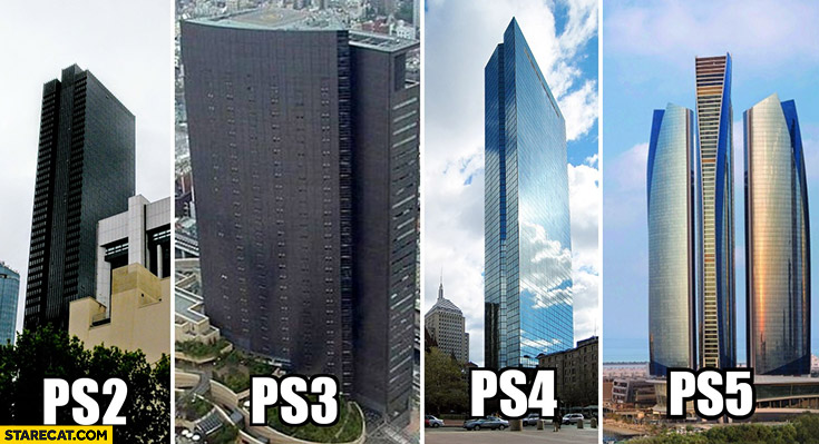 Playstation consoles compared to buildings PS2 PS3 PS4 PS5