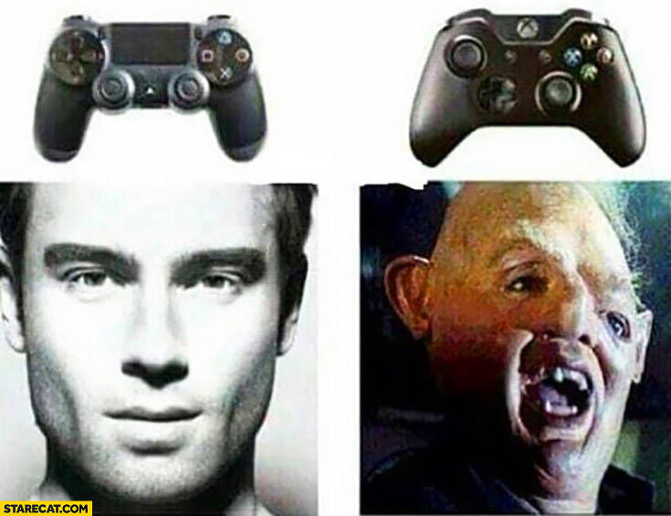 Playstation controler like handsome man xBox controller deformed face