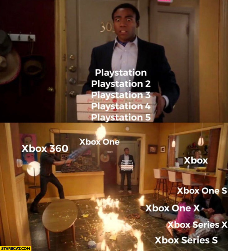Playstation versions stacked pizza vs xbox mess