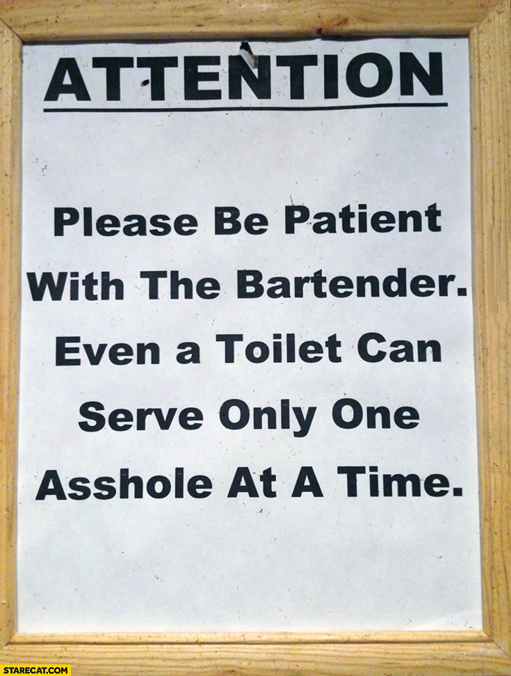 Please be patient with the bartender, even a toilet can serve only one asshole at a time