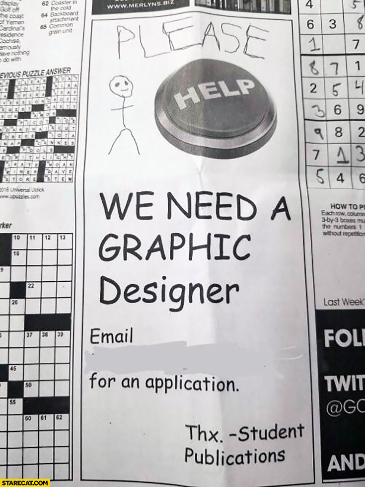 Please help, we need a graphic designer email for an application. Press ad