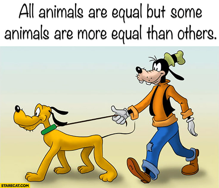 Pluto Goofy all animals are equal but some animals are more equal than others