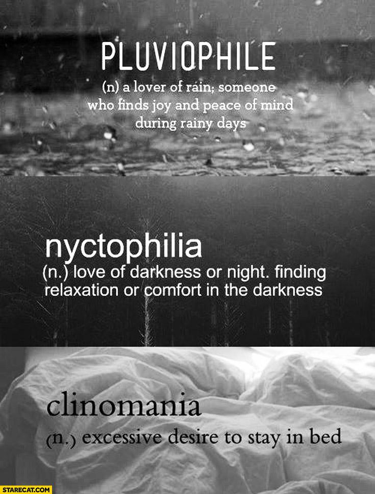 Pluviophile nyctophilia clinomania