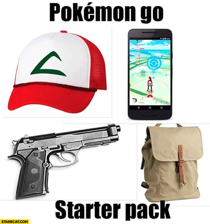 Pokemon GO starter pack: gun, backpack, cap, phone
