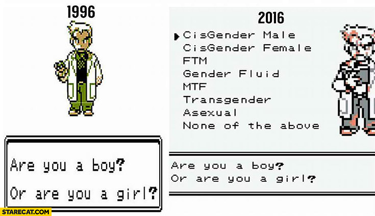 Pokemon in the past: are you a boy or are you a girl? Now many gender options to choose from