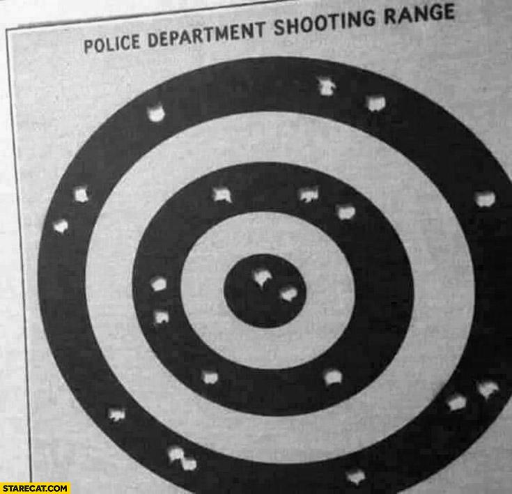Police department shooting range only black color shot
