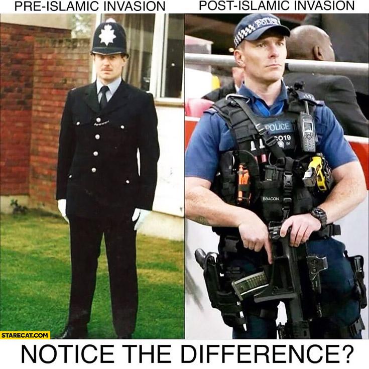 Policemen pre-islamic invasion, post-islamic invasion comparison. Notice the difference?