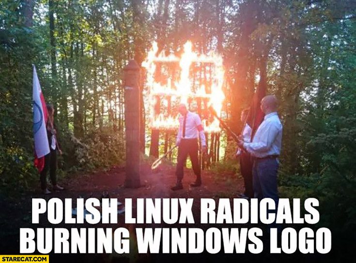 Polish Linux radicals burning Windows logo