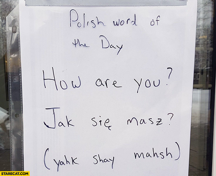 Polish word of the day: how are you? Jak sie masz?
