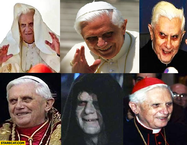 Pope Benedict looking like Emperor Palpatine from Star Wars