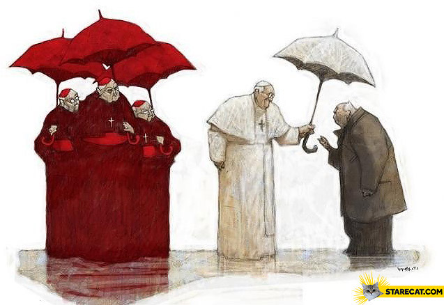 Pope Francis helping poor umbrella rain