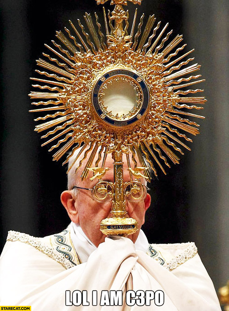 Pope Francis hidden looking like C3PO Star Wars