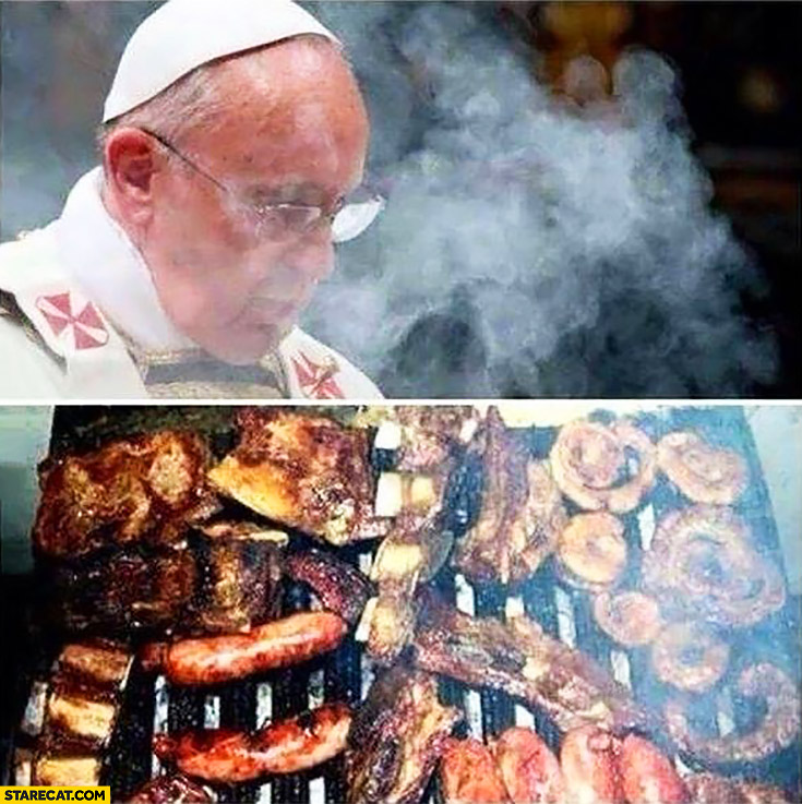 Pope Francis smoke barbecue photoshopped