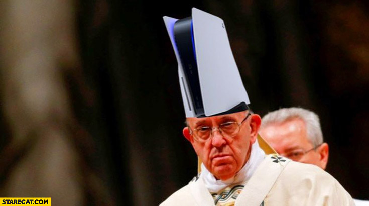 Pope Francis wearing PS5 as a hat playstation