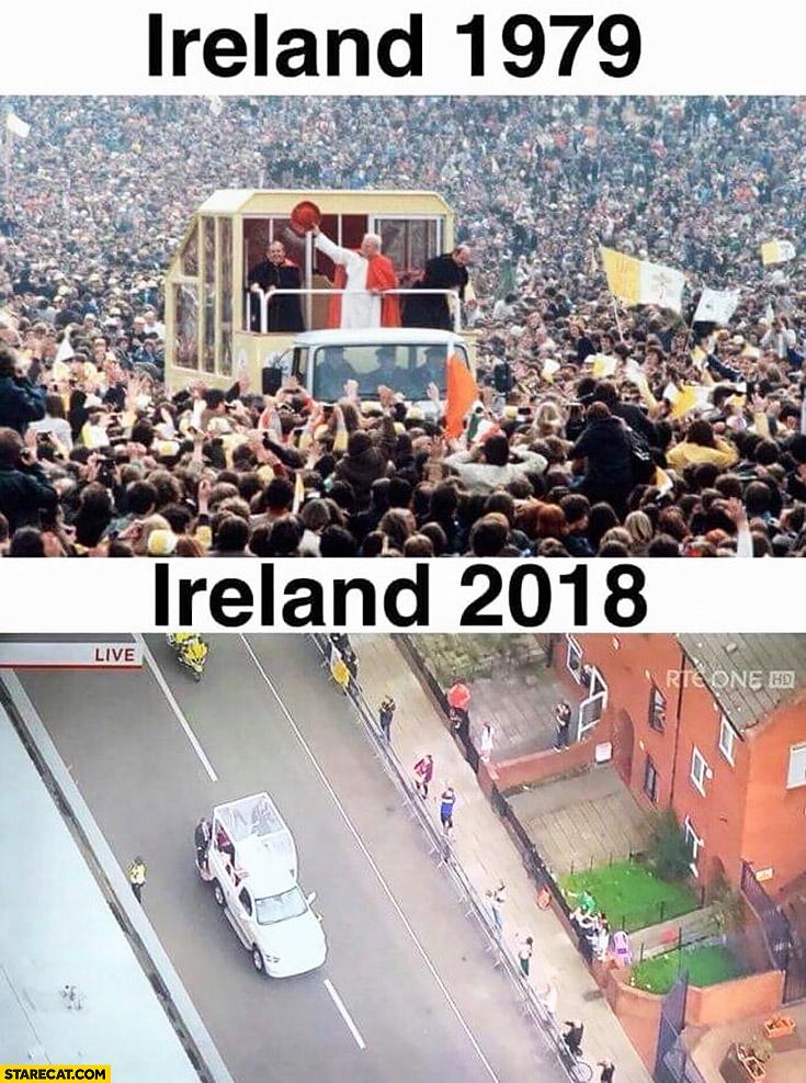 Pope visiting Ireland 1979 vs 2018 crowd comparison