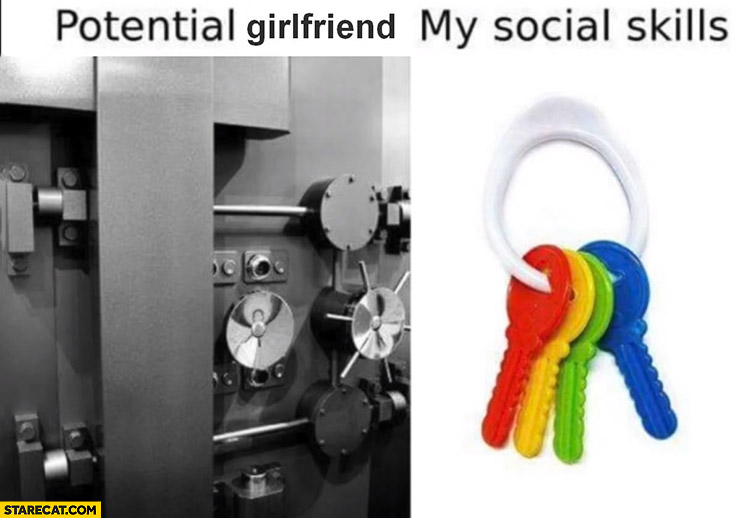 Potential girlfriend vs my social skills: secure vault vs toy keys