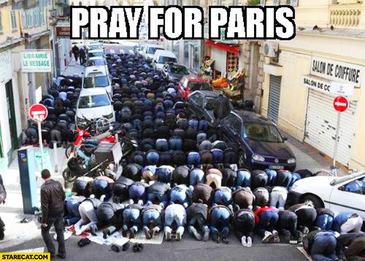 Pray for Paris muslims praying in the streets
