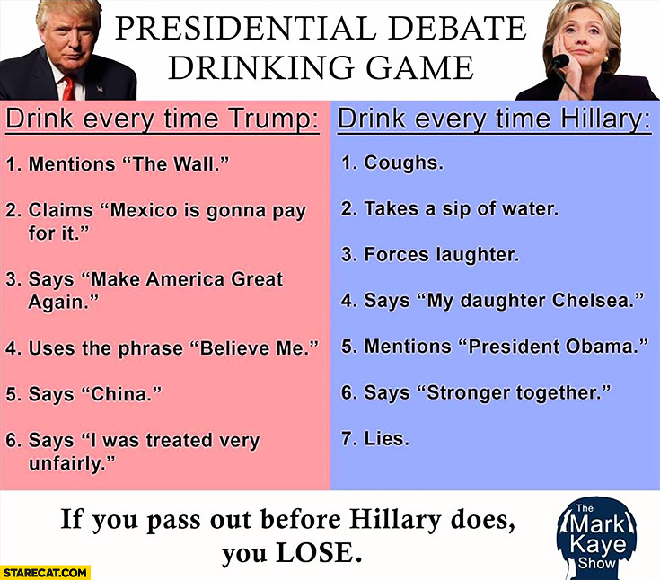 Presidential debate drinking game: drink every time Trump mentions the wall, says China. Hillary coughs, takes a sip of water, forces laughter, lies