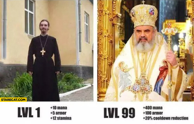 Priest LVL 1 vs LVL 99 comparison mana armor stamina cooldown reduction