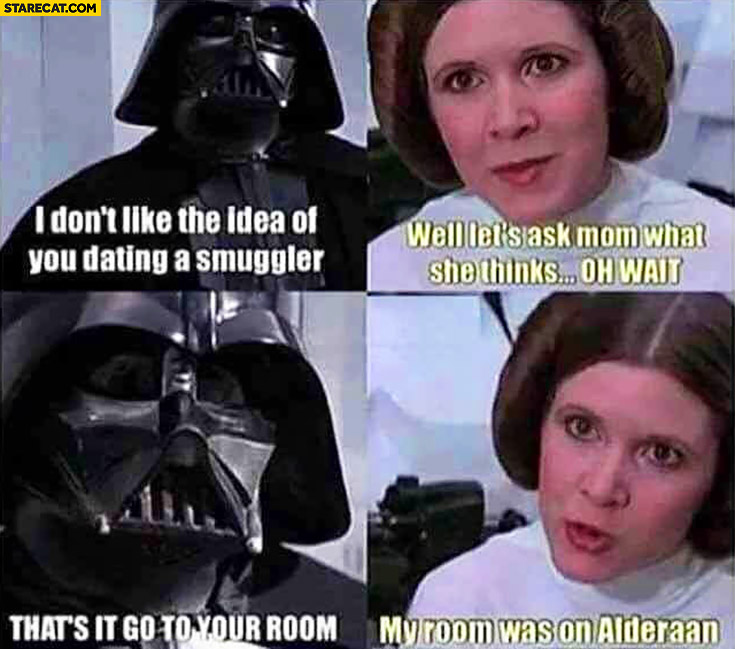 Princess Leia Darth Vader I don't like the idea of you dating a smuggler, well let's ask mom what she thinks, oh wait… That's, it go to your room, my room was on Alderaan