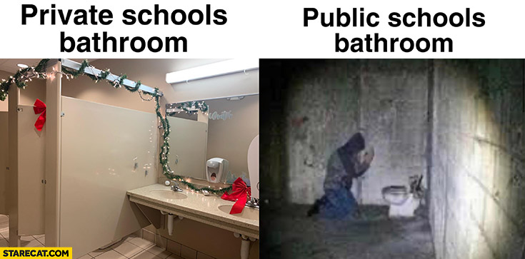 Private school bathrooms vs public school bathrooms comparison