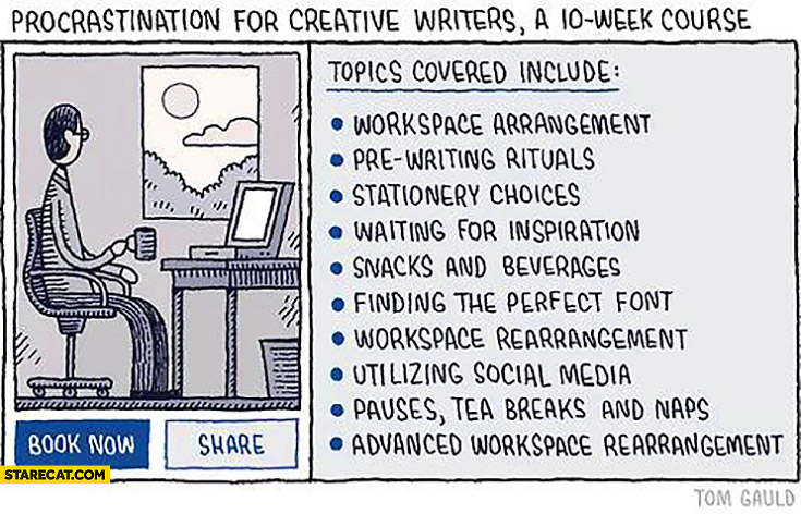 Procrastination for creative writers a 10 week course wasting time methods list